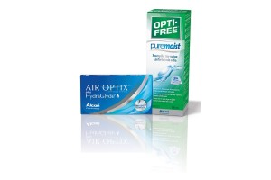 Air Optix Plus HydraGlyde (6 φακοί) Μηνιαίοι Μυωπίας + ΔΩΡΟ Opti-Free Pure Moist 300ml