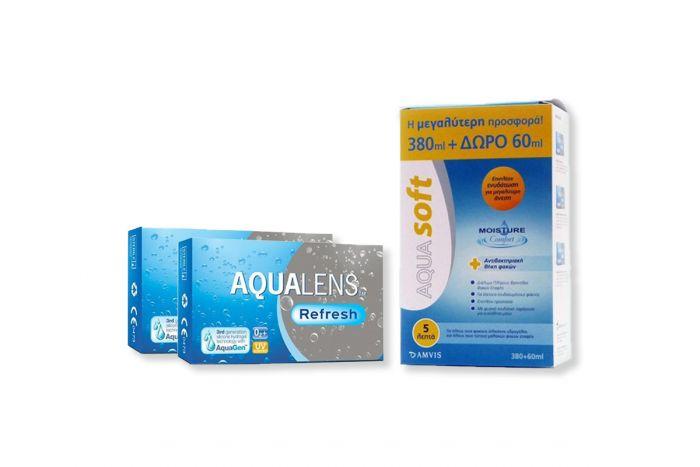 2 κουτια Aqualens Refresh ( 3 φακοί ) Μηνιαίοι Μυωπίας + AquaSoft 360+60ml