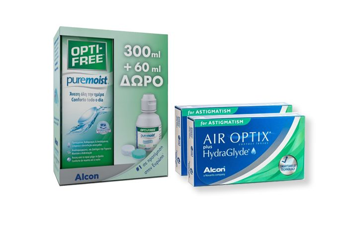 2 κουτιά Air Optix Plus Hydraglyde for Astigmatism ( 3 φακοί ) + Opti-Free Pure Moist 300ml + 60ml